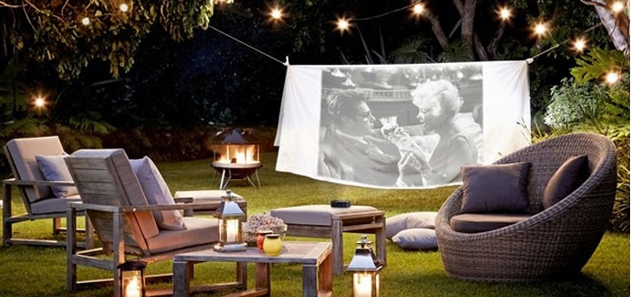 Summer bliss: backyard movie night