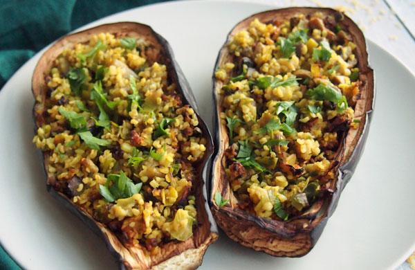 Eggplant stuffed with bulgur, leeks and mushrooms   My Cosy Retreat
