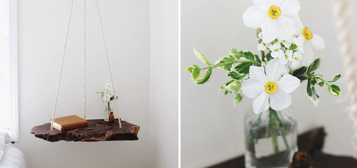 Adorable DIY hanging bedside table