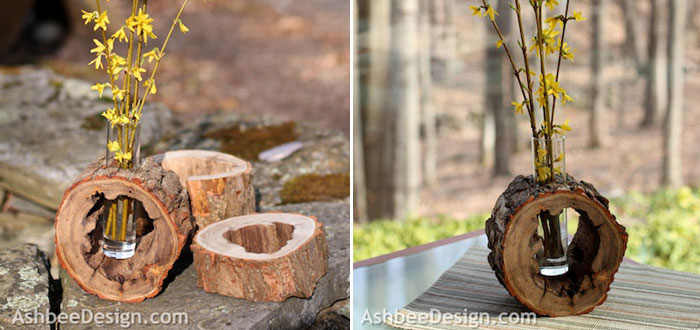 Bring spring into your home with this lovely DIY log slice vase