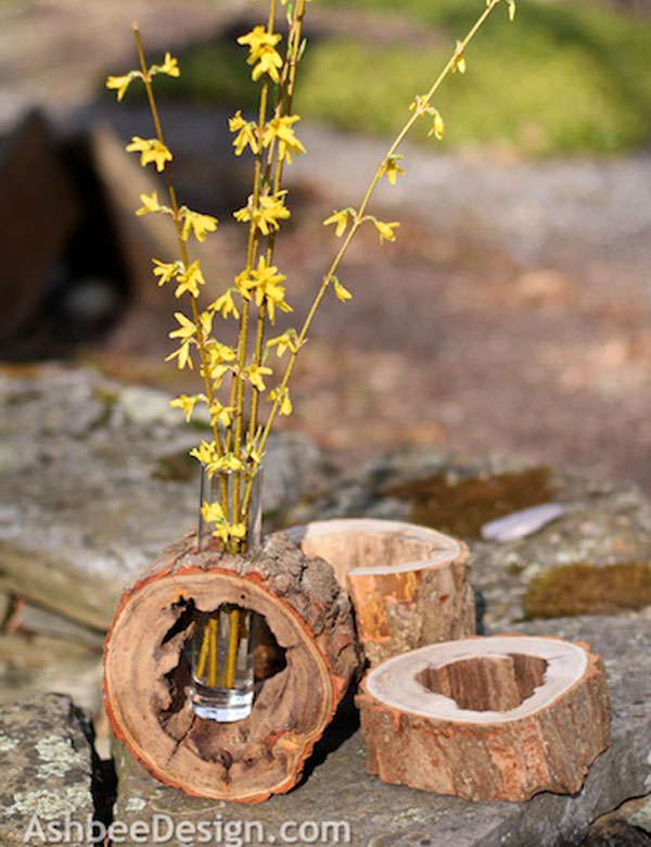 DIY log slice vase | My Cosy Retreat