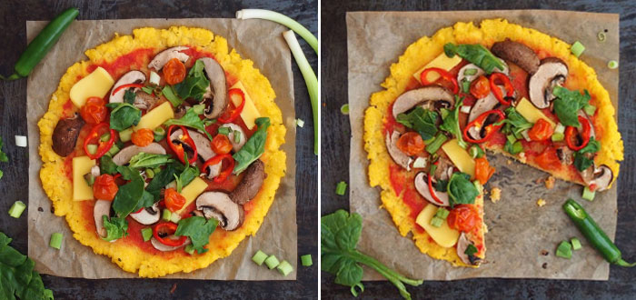 Polenta pizza with veggies, mushrooms and vegan cheese