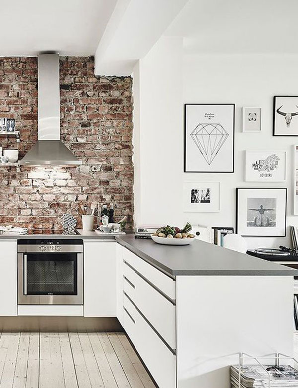 10 charming brick wall kitchen designs for Kitchen bricks design