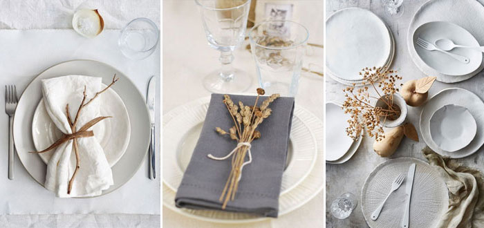 Beautiful minimalist autumn table settings