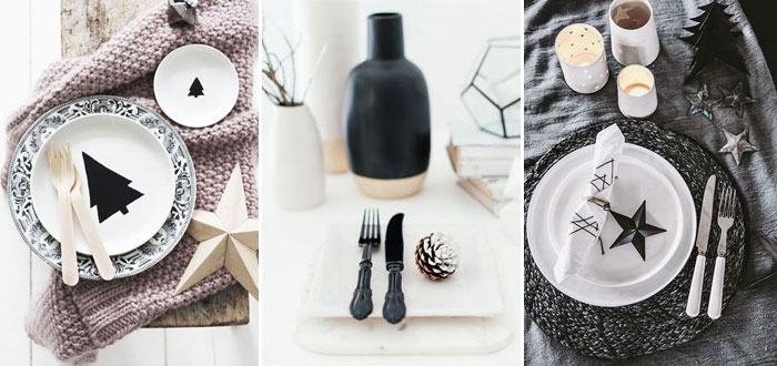 Simple Christmas table settings with a touch of black