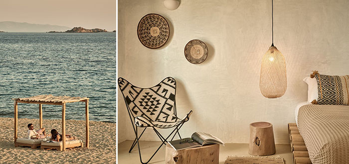 A splendid boho ethnic chic hotel on Naxos Island, Greece