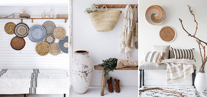 How to decorate your wall with straw hats, bags and baskets?