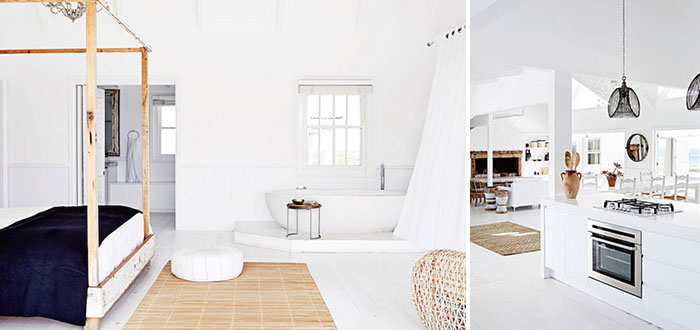 A fabulous white beachfront house for rent in South Africa